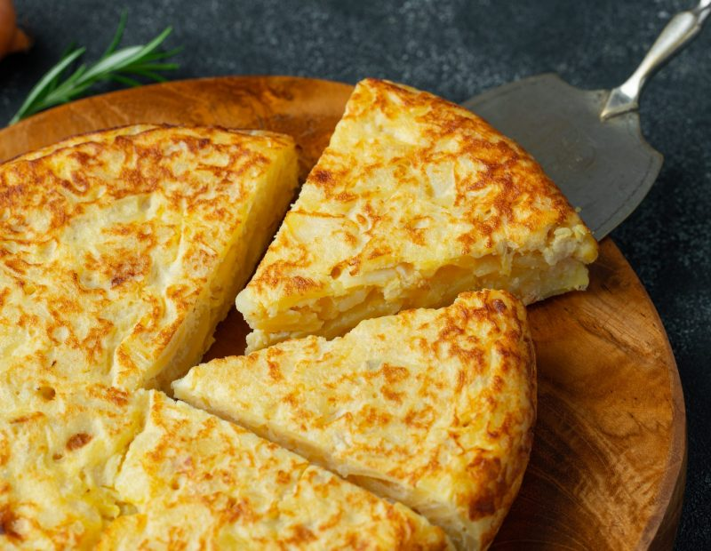Spanish tortilla with potatoes and onion.